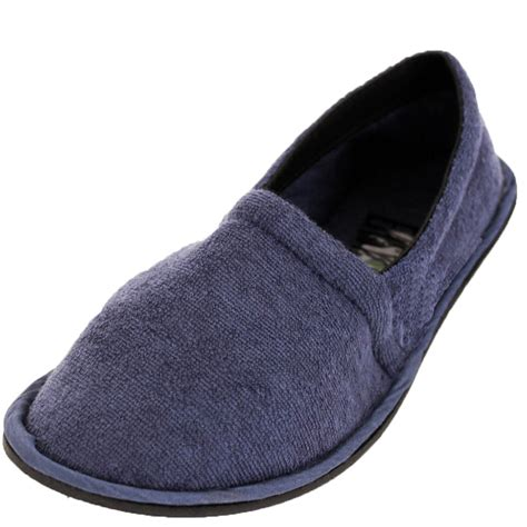 comfort slippers mens slippers house shoes terry slip on flexible sole