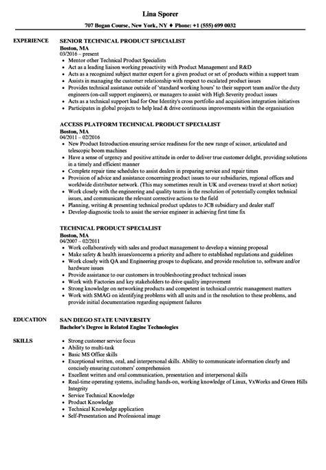 technical product specialist resume sles velvet