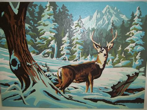 Antique French Wall Sconces Vintage Winter Scene With Deer Paint By Number Painting