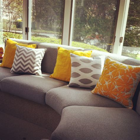 yellow pillows for sofa 11 sizes available one grey or