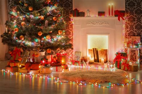 xmas tree  fireplace wallpaper  android iphone