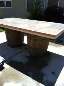 Wine Barrel Patio Table Wine Barrel Outdoor Table For The Home