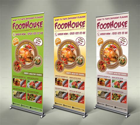 banner design envato fast food roll up banner 3 colors by fatihakdemir