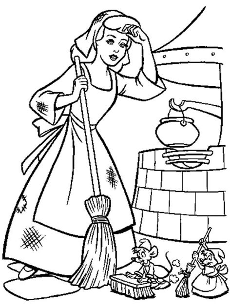winter coloring book for adults grayscale line coloring book books cinderella cleaning house in cinderella coloring page