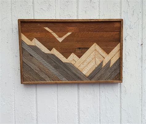 reclaimed wood wall mountains decor lath