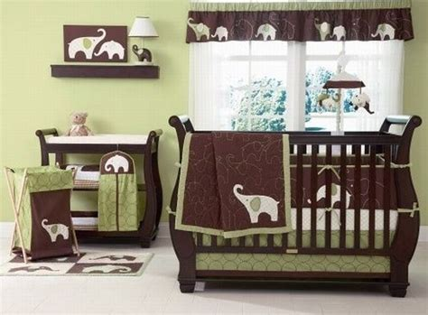 Green And Brown Crib Bedding Dynamic Green And Brown Baby Bedding Set For With Elephant Imagery Decoist
