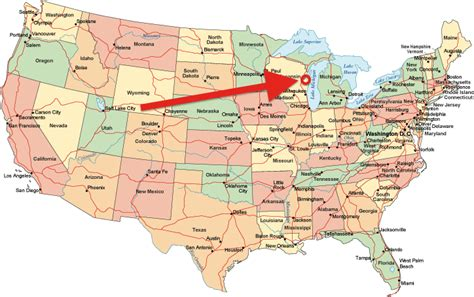 chicago map in usa map of usa showing chicago my