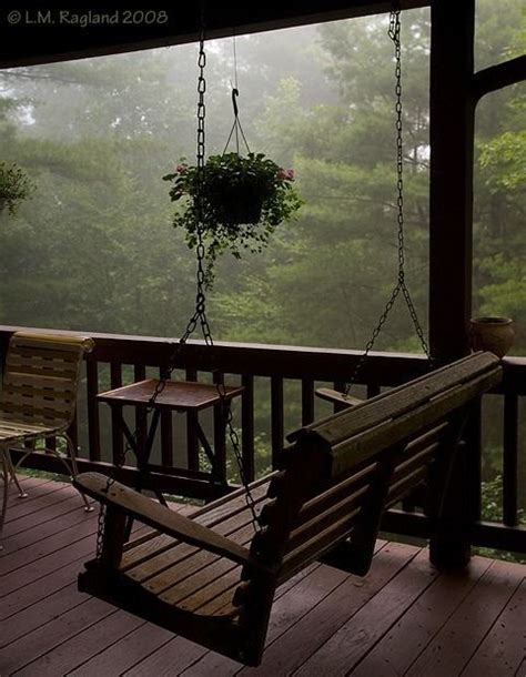 Porch Swing In The Rain Rainy Days Pinterest