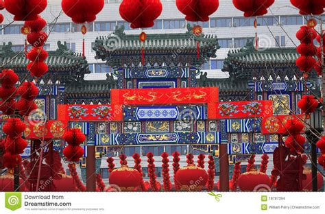 lunar new year decorations gate lunar new year decorations stock