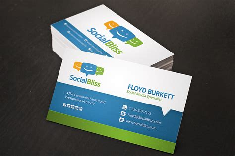 Social Media Business Card Business Card Templates On Creative Market Social Media Card Template Free