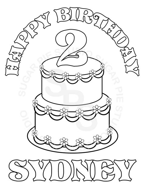 Personalized Coloring Pages personalized printable birthday cake favor by