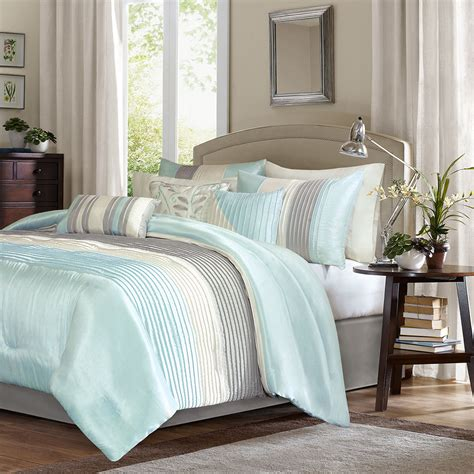 beautiful deluxe aqua grey comforter sham bedskirt set 7