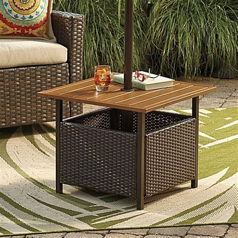 Patio Umbrella Stand Side Table Stratford Wicker Umbrella Side Table Bed Bath Beyond