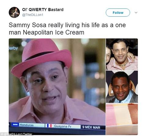 Sammy Lotion Lotion Sammy Lotion erupts as sammy sosa appears on tv looking pink daily mail