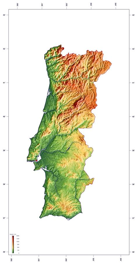 europe elevation map detailed elevation map of portugal portugal europe