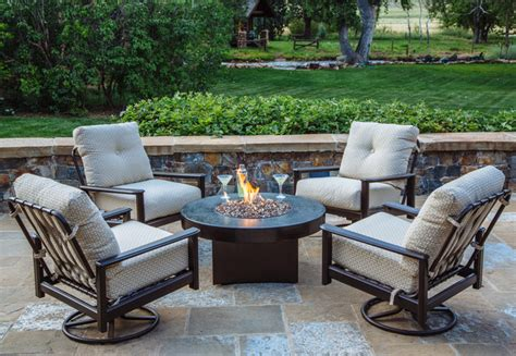 Oriflamme Gas Fire Table With Outdoor Furniture Rustic Outdoor Patio Furniture Denver
