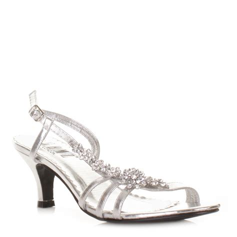 silver sandals for wedding low heel shoes for womens low heel silver flower diamante slingback