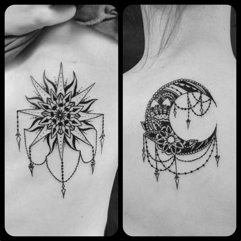 sun and moon best friend tattoos best 25 sun moon tattoos ideas on sun and