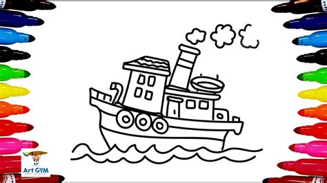 how to draw a boat youtube سفينة رسم وتلوين how to draw a boat color youtube
