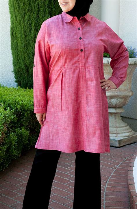 long skirt and blouse muslimah lightweight chambray long blouse red knee length cotton