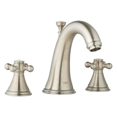 shop grohe geneva brushed nickel 2 handle adjustable deck mount bathtub faucet at lowes com shop grohe geneva brushed nickel 2 handle widespread