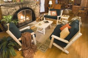 log home furniture and decor rustic log framed cabin or cottage living decor and furniture