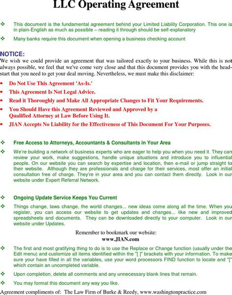 llc operating agreement download free premium