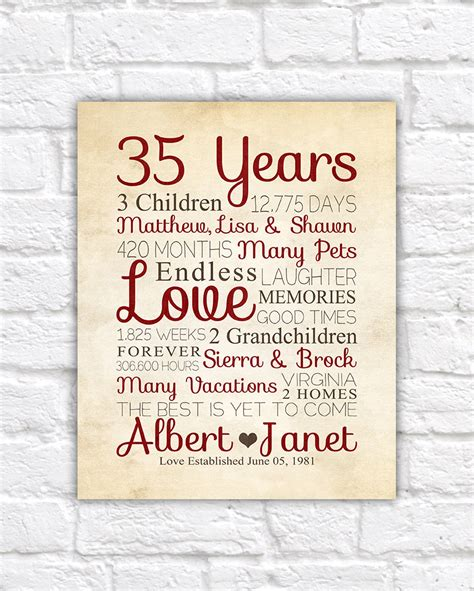printable anniversary cards for your parents 35th anniversary any year anniversary gifts personalized