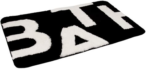 black and white bathroom rugs and towels n wall decal