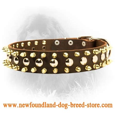 Leather Collar With Hello 20 Mm X 45 Cm newfoundland spiked and studded 40 mm leather collar s57 1032 3 rows leather collar with