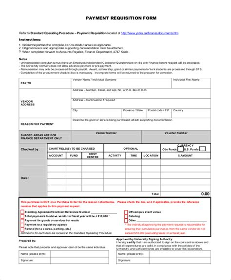 payment form template 10 sle requisition forms sle templates