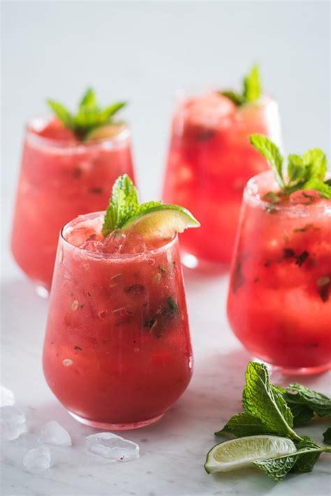easy watermelon mojito recipe inside a watermelon