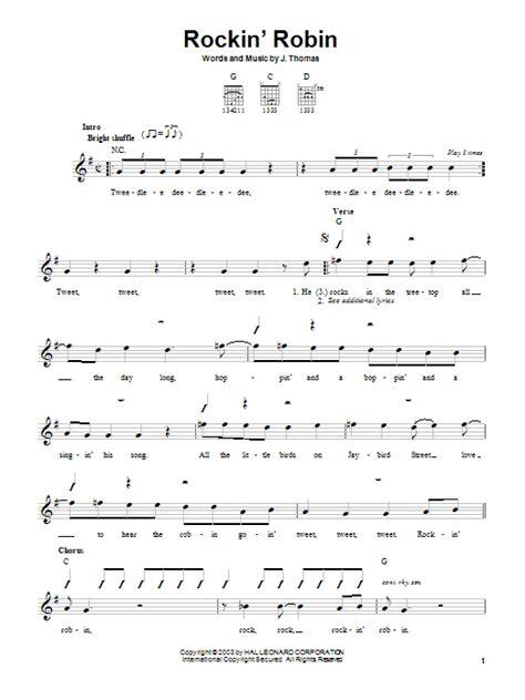 printable lyrics to rockin robin rockin robin sheet music direct