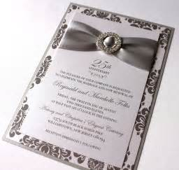 wording for 25th wedding anniversary invitations embellished paperie 25th anniversary invitations silver and white damask