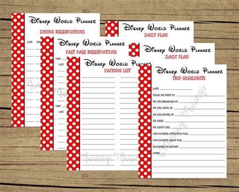 printable vacation planner free free printable disney world vacation planner