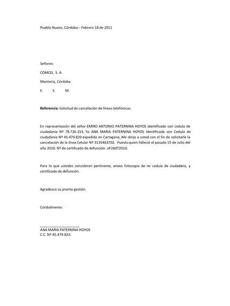 carta de cancelar un servicio carta y poder cancelacion de linea telefonica