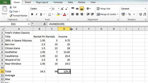 video tutorial excel excel 2010 tutorial for beginners 4 autosum function