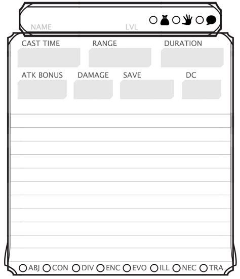 d d 3 5 spell card template free printable d d 5e spell cards template descriptions