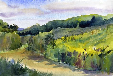Landscape Artists Fields Taraden Fields Watercolor Plein Air Landscape