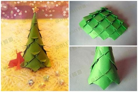 how to fold origami paper craft christmas trees step by