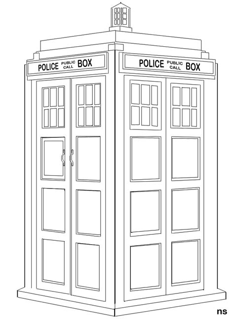 tardis line art by nolamom3507 on deviantart