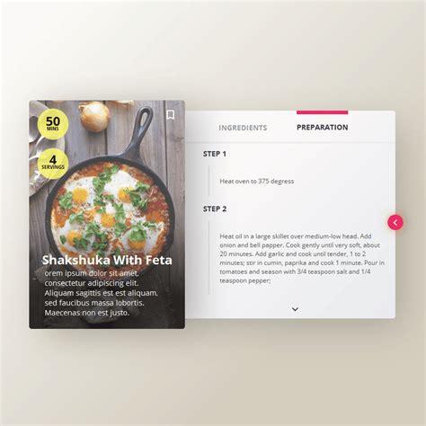javascript card layout recipe card design web web development and ux design