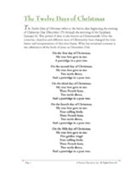 printable lyrics to 12 days of christmas twelve days of christmas lyrics new calendar template site