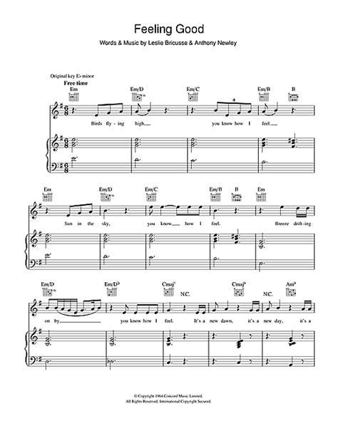 feeling good sheet   michael buble piano vocal guitar