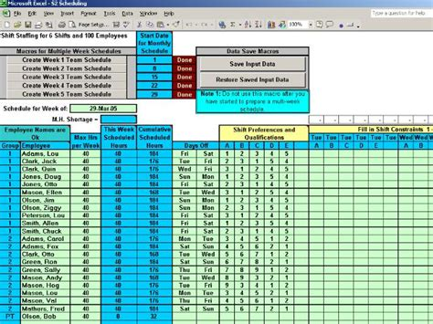 Excel Spreadsheet For Scheduling Employee Shifts by Work Schedules Software