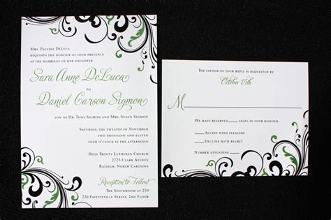 green and black wedding invitations green and black two tone swirl wedding invitations emdotzee designs
