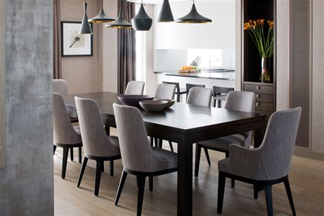 grey dining room chair tom dixon pendant lighting large table and gray