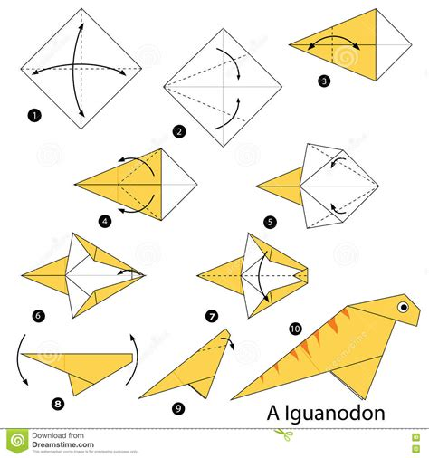 How To Make An Origami Dinosaur Step By Step - step by step how to make an origami dinosaur