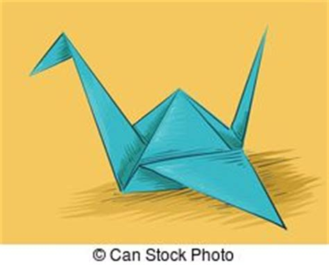 Origami Crane Clip - paper folding illustration of a kid folding pieces