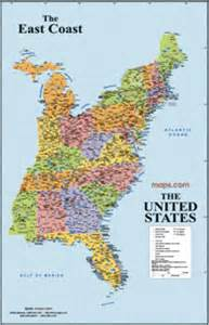 east coast usa wall map from maps